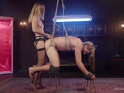 Intense anal and femdom during a wild BDSM cam play
