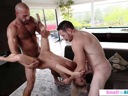 Petite babe ganged by two big dicks