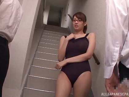 Shion Utsunomiya has her glasses creamed after pleasing two cocks