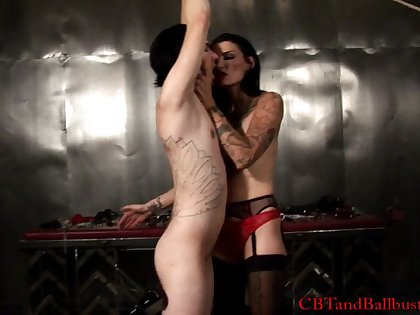 Babe stripteases her horny guy before busting balls in female domination sex