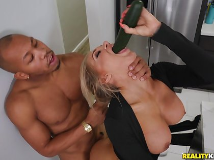 Silicone blonde bombshell blows hard penis before rough fuck