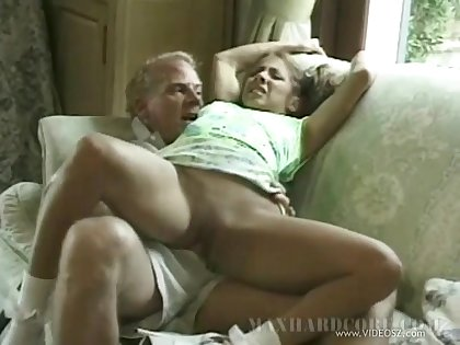 A horny young girl fucks an old man hardcore