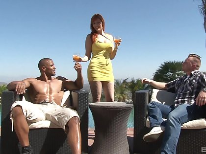 Threesome with Lauren Phillips and his hubby is a fantasy of horny dude