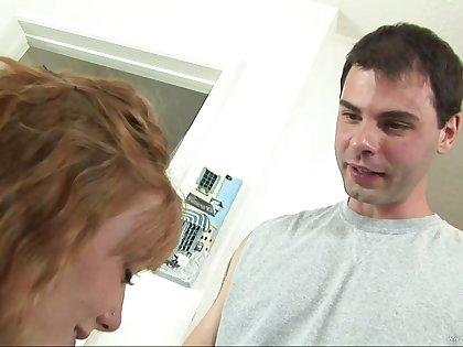 Babysister rides cock gets a cumshot from the next door neighbour geek
