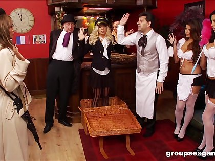 Sexy and costumed Amy Azzura,adores group sex games in the room