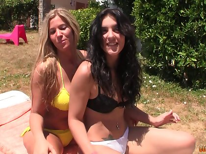 Pretty blonde enjoys memorable and hard foursome with her friends