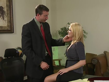 Cute secretary Codi Carmichael enjoys sex with her boss in the office