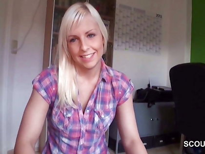 German Step-Sister Caught Brother and help with Handjob