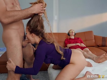 Gagged MILF pleases herself close by sex while the guy's wife is comatose