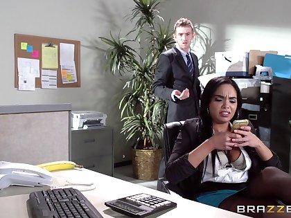 Carnal knowledge on the office table with Latina scrivener Selena Santana