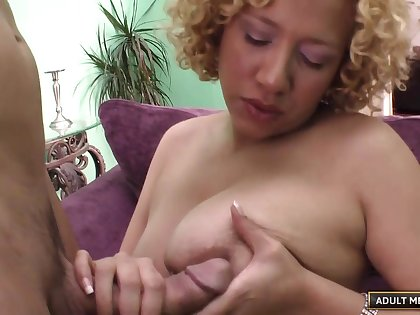 Curly hair fair-haired Michelle Honey sucks and rides her husband