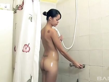 Girlfriend Sonia takes a shower and gets fucked by an old man