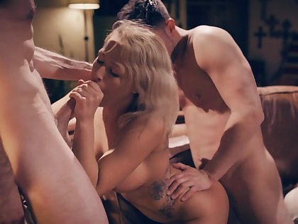 Sex-appeal blond woman Zoey Monroe is fucked by two hot blooded guys