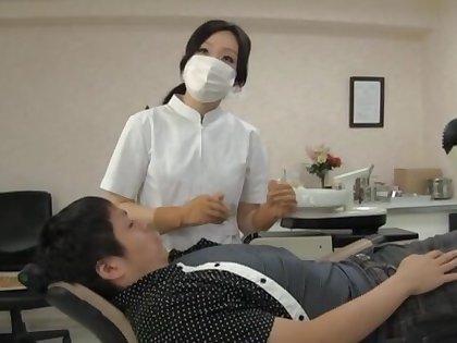Naughty Japanese dentist enjoys having sex all round her lucky buyer