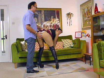 Sahara Knite wears a slutty uniform skirt during sex with older man